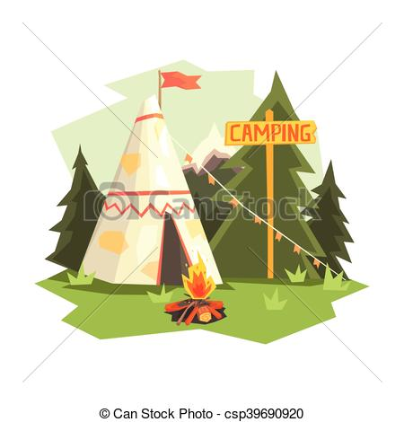 Bonfire clipart fir Of Forest Vector Camping And