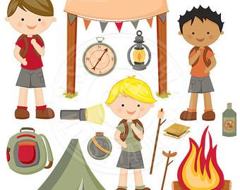 Bonfire clipart fir Backpack Camping Art Boy Clipart