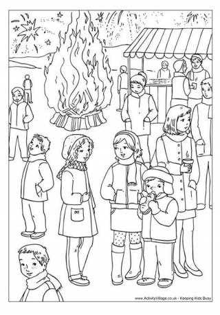 Bonfire clipart fireworks display Night Page Bonfire Pages Colouring