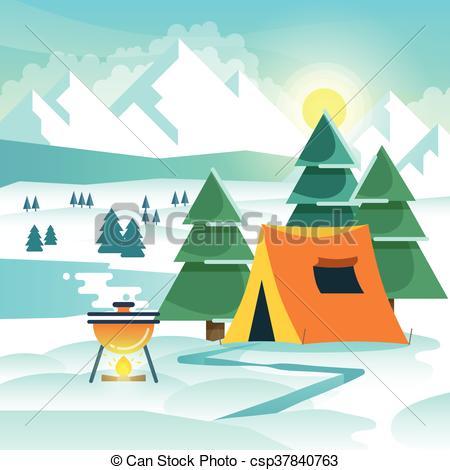 Bonfire clipart winter Winter and  tent tent