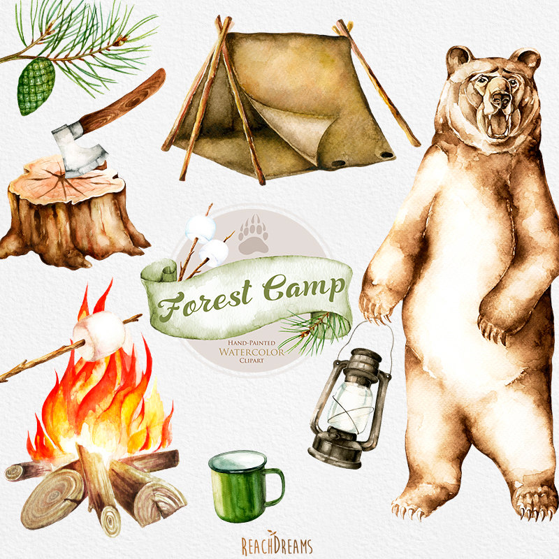 Bonfire clipart winter camping Camping bear download illustrations forest
