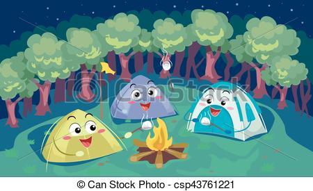 Bonfire clipart winter camping Tents Winter  a Mascot