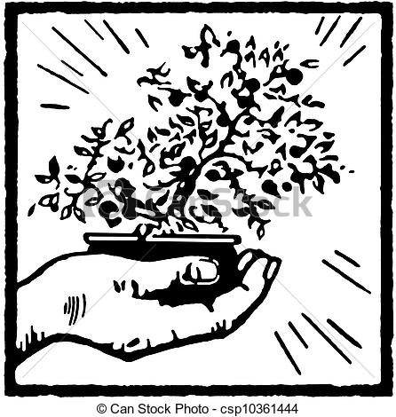Bonsai clipart black and white Of of a tree and