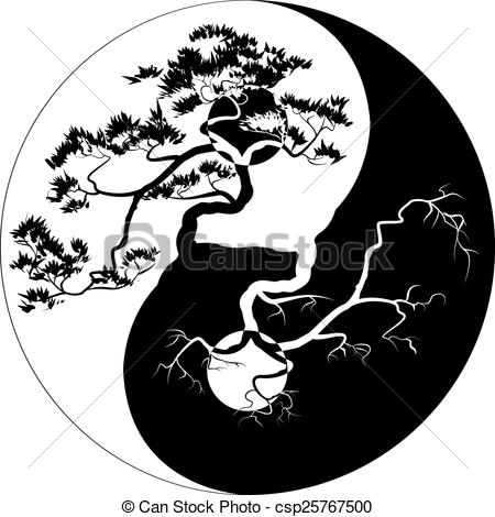 Bonsai clipart black and white  Clipart of tree Yang