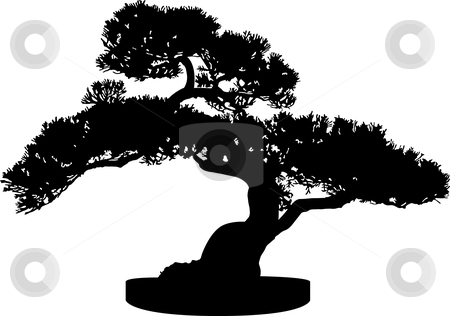 Bonsai clipart black and white Chinese tree Silhouette vector clipart