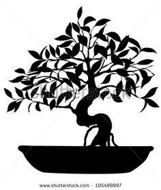 Bonsai clipart cypress tree Silhouette background making white stock
