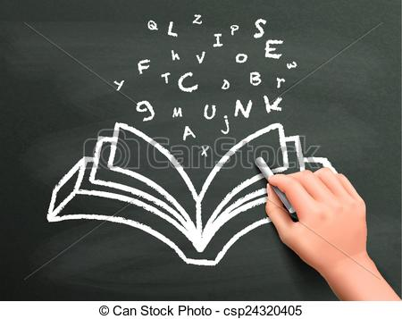 Book clipart chalkboard Flying words book by out
