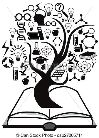 Book clipart education Vector tree isolated up Vector
