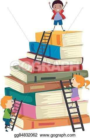 Book clipart ladder Climb tall Stickman illustration gg84832062