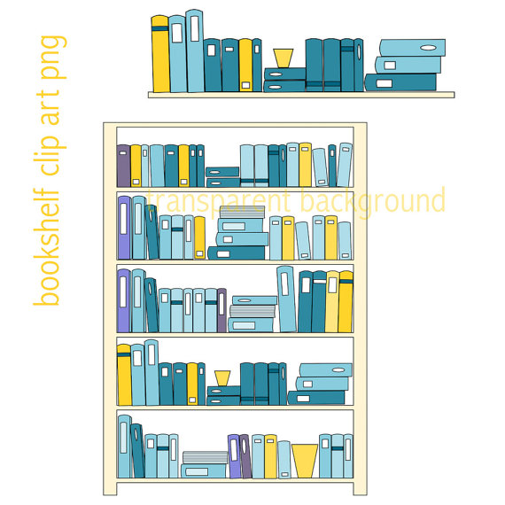 Book clipart pastel Instant bookshelves file a bookshelf