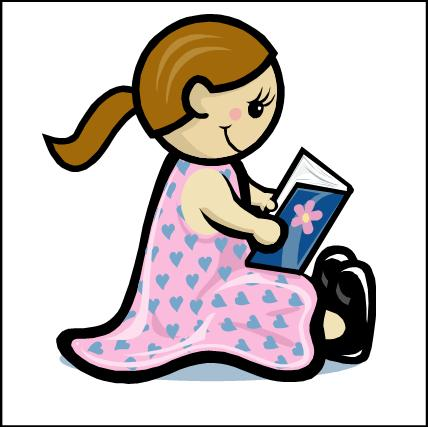 Book clipart she reads She reads blue a 'What'