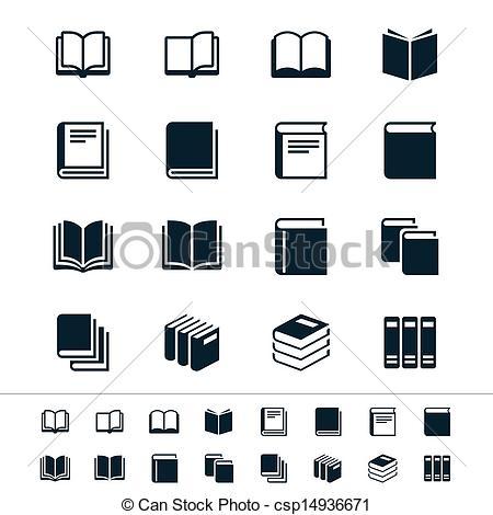 Drawn bobook Book icons Illustration vector icons