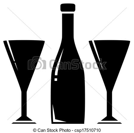 Wine clipart two  Stock two glass black