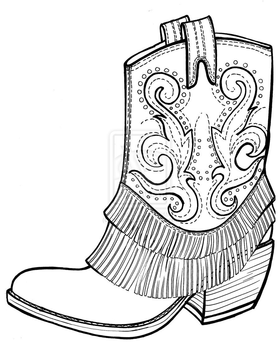 Drawn boots cartoon Picture free of Cowboy Pages