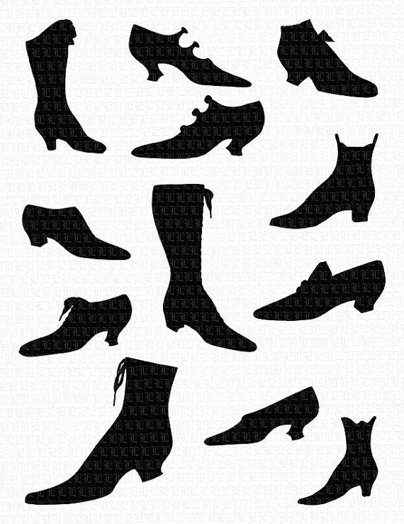 Boots clipart victorian 0218 Clip Etsy Women's Printable