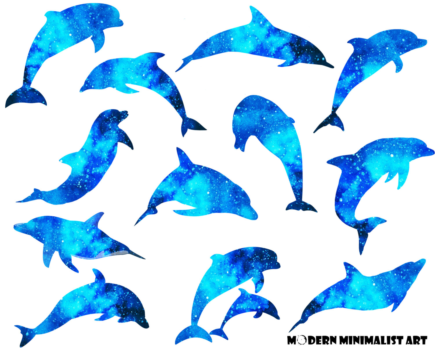 Bottlenose Dolphin clipart blue thing A Dolphin file digital Watercolor