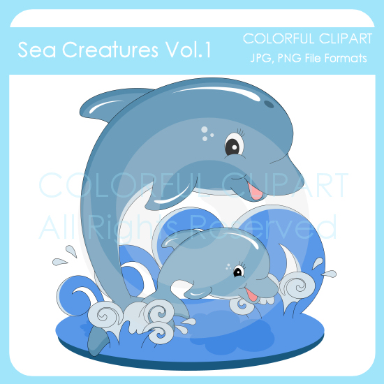 Bottlenose Dolphin clipart creature 95 Colorful  1 Creature