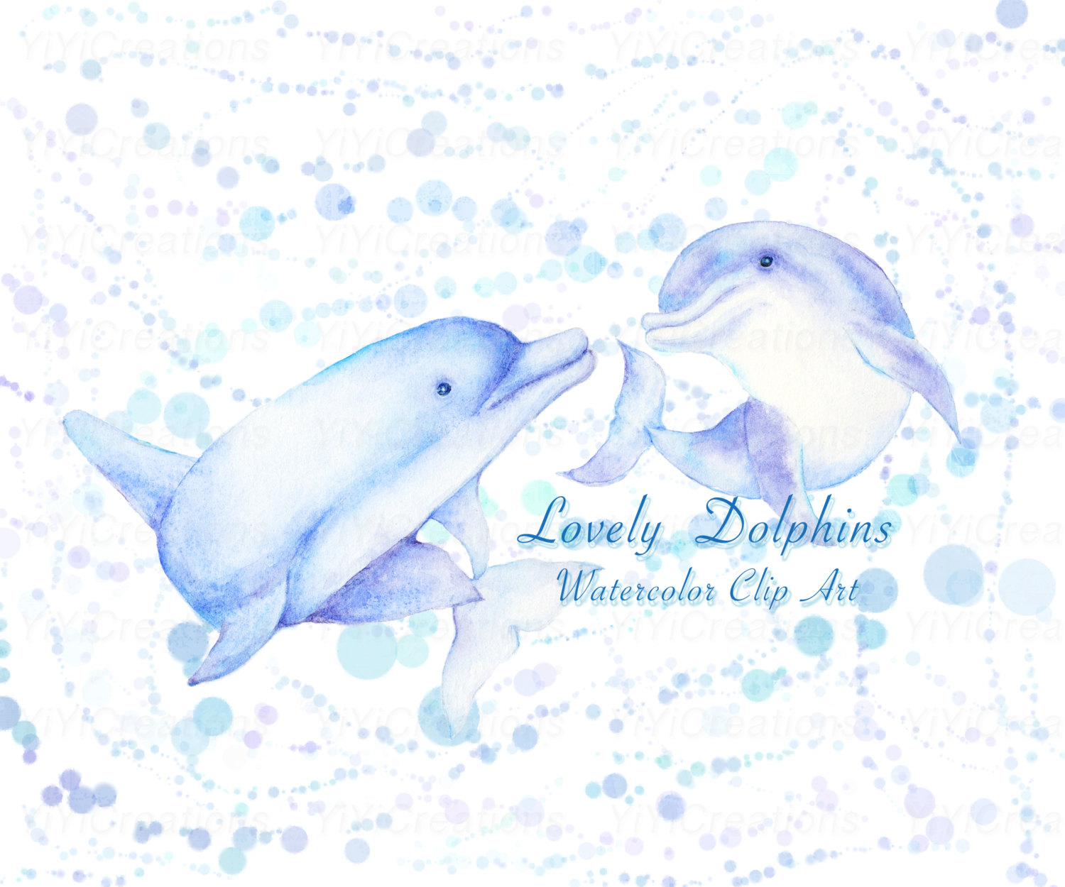 Bottlenose Dolphin clipart creature Painted Watercolor a is