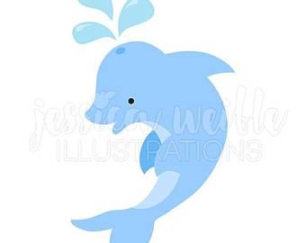 Bottlenose Dolphin clipart ocean animal Blue dolphin Dolphin art Dolphins