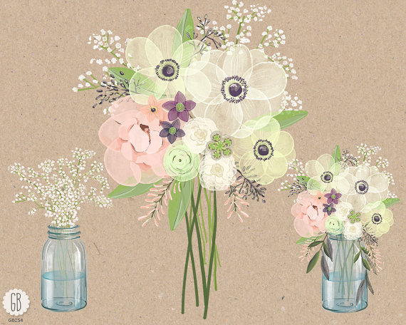 Bouquet clipart baby's breath Watercolor anemone This  digital