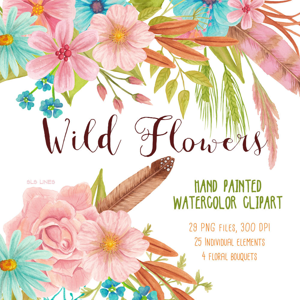 Wildflower clipart flower bouquet Wild meadow watercolor bouquet Etsy