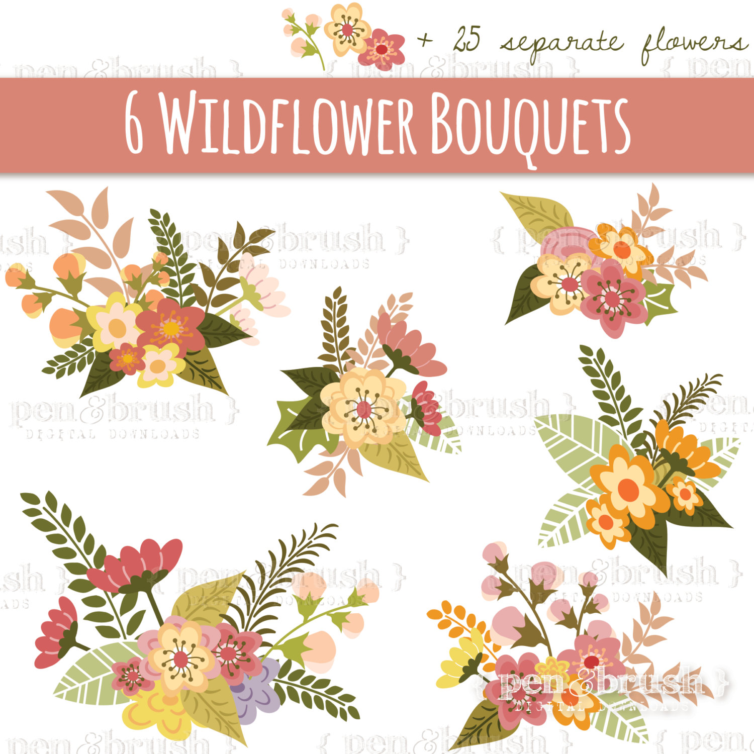 Bouquet clipart flower vector Bouquet Flower Invitations // CLIP