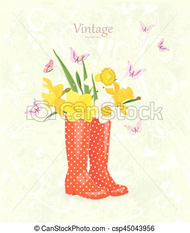 Bouquet clipart funny  greeting Vector of daffodils