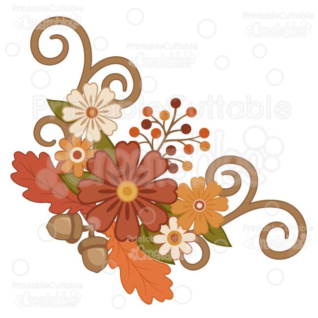 Orange Flower clipart fall flower Cut Fall Group Clipart