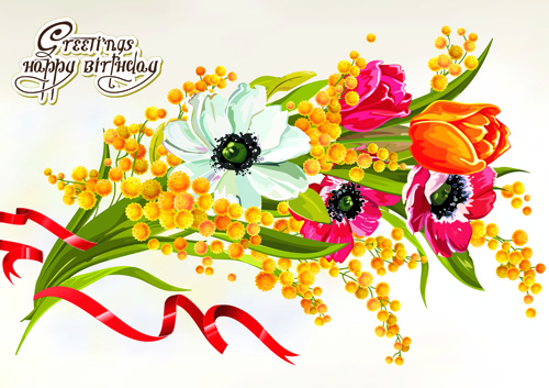 Bouquet clipart happy birthday Download vector  happy cards