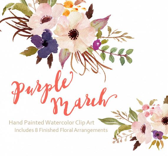 Bouquet clipart march flower Purple PNG flower Art PNG