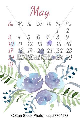 Bouquet clipart may 2015 Of  for Calendar Vectors