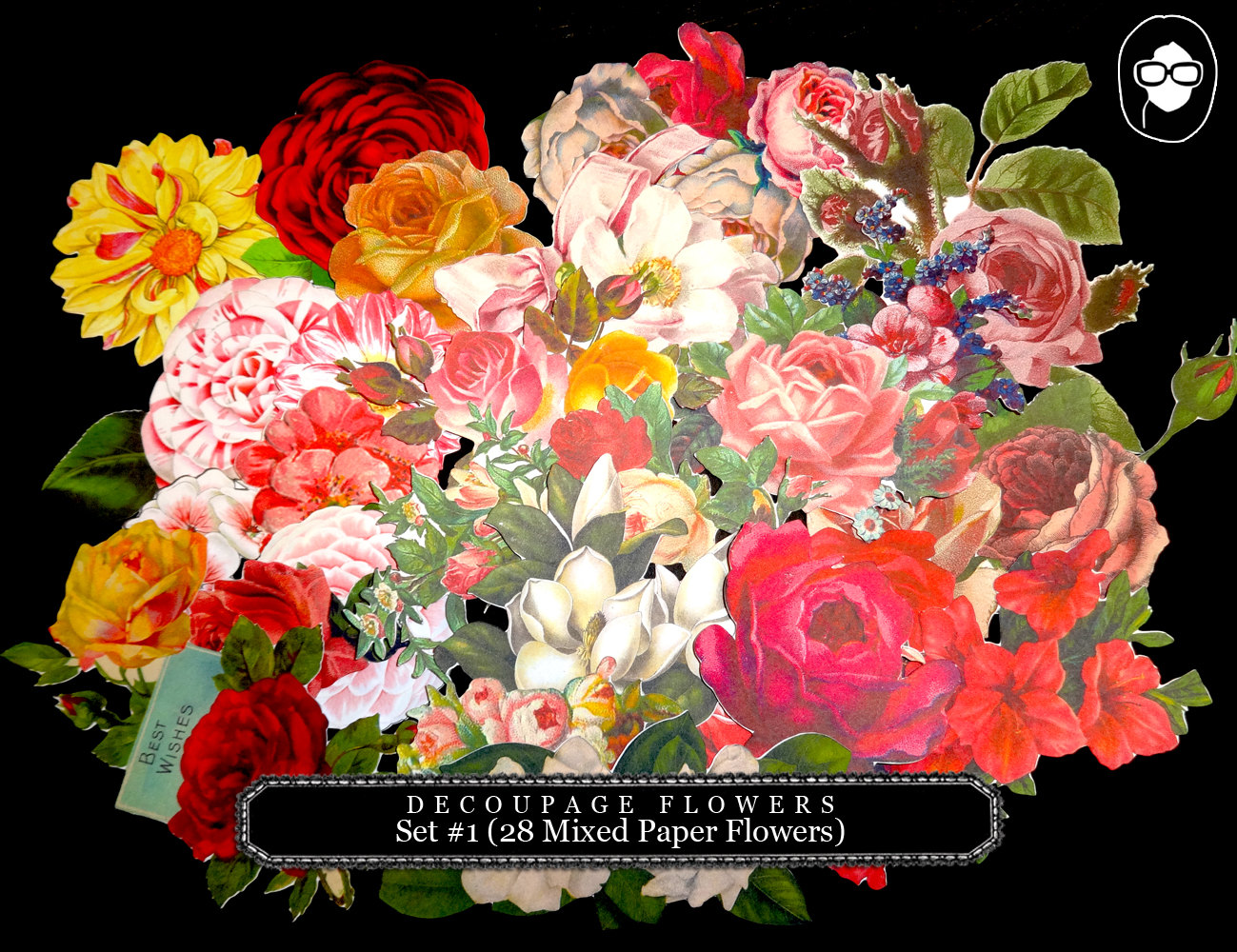 Bouquet clipart paper flower Diecut 28 Mixed #1 Flowers