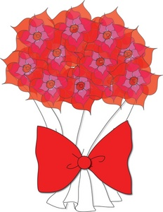 Bouquet clipart paper flower Clip with Bow Birthday Free