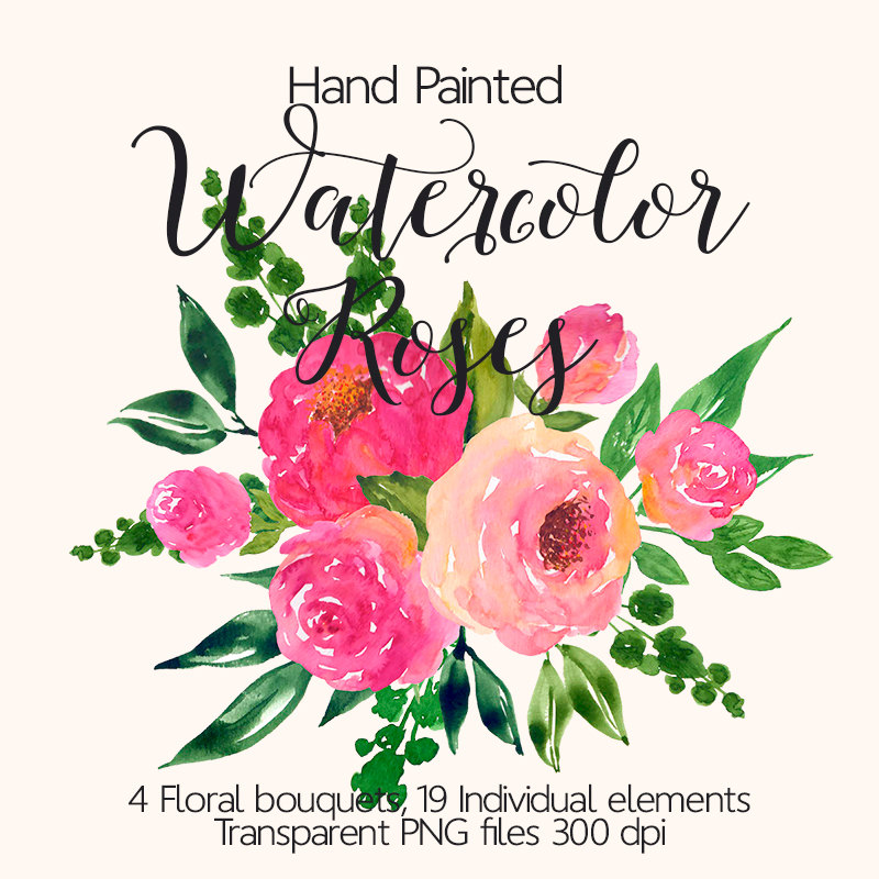 Bouquet clipart pink flower Pink  Flower This Watercolor