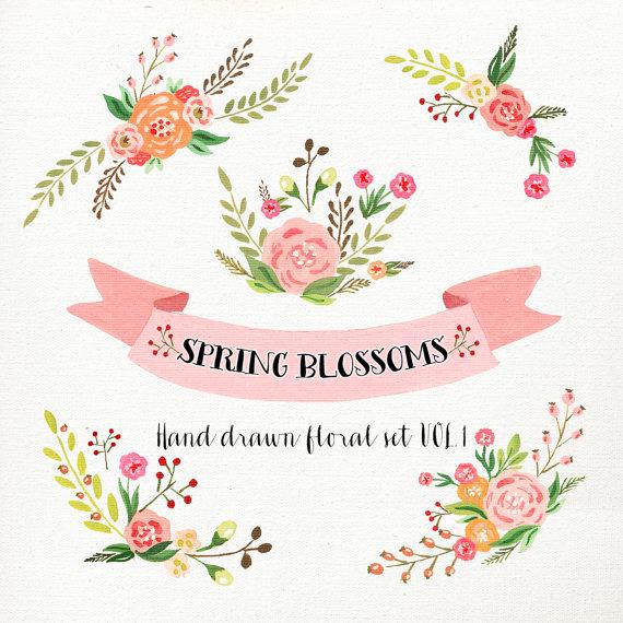 Vintage Flower clipart wedding floral Clip Flower Clipart Wedding floral