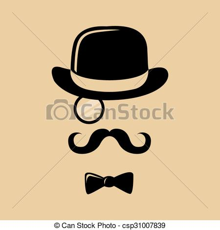 Drawn top hat mustache Mustache Bow Mustache Hipster Bow