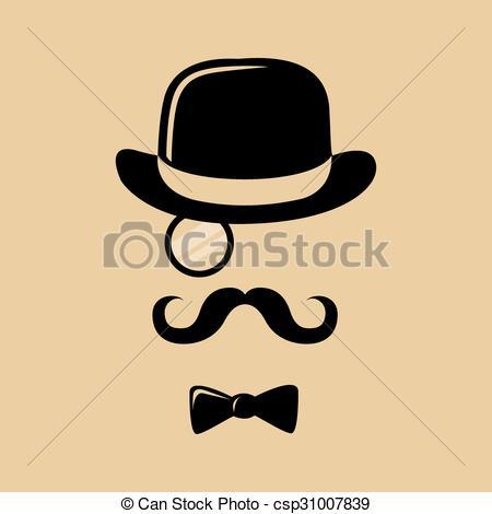 Drawn top hat mustache #12