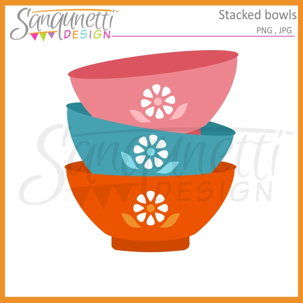 Bowl clipart stacked Kitchen Clipart Design: Bowls Stacked