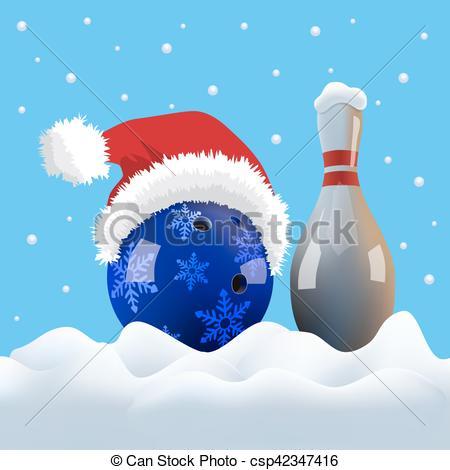 Bowling clipart santa claus Bowling Christmas snowing Vector ball