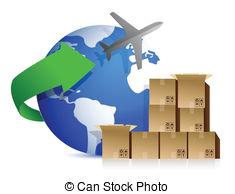 Box clipart shipment Plane design Stock over boxes
