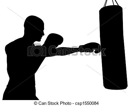 Boxer clipart boxing bag Boxer punching to csp1550084 of