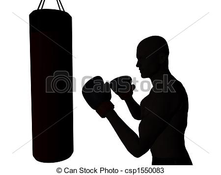 Boxer clipart boxing bag Boxer punching to csp1550083 of