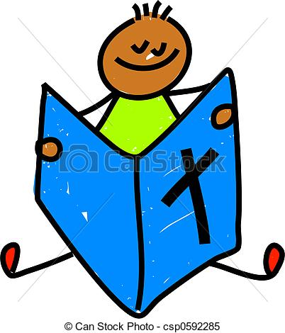 Boy clipart bible Of kid reading ethnic Stock