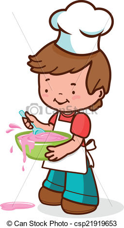 Boy clipart cooking Boy Vector  little messy
