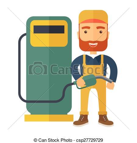 Boy clipart gasoline Boy  illustration pump retro