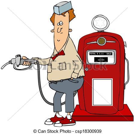 Boy clipart gasoline Illustration csp18300939 pump retro from