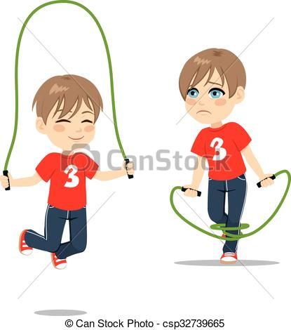 Boy clipart jumping rope Vector csp32739665 boy Rope of