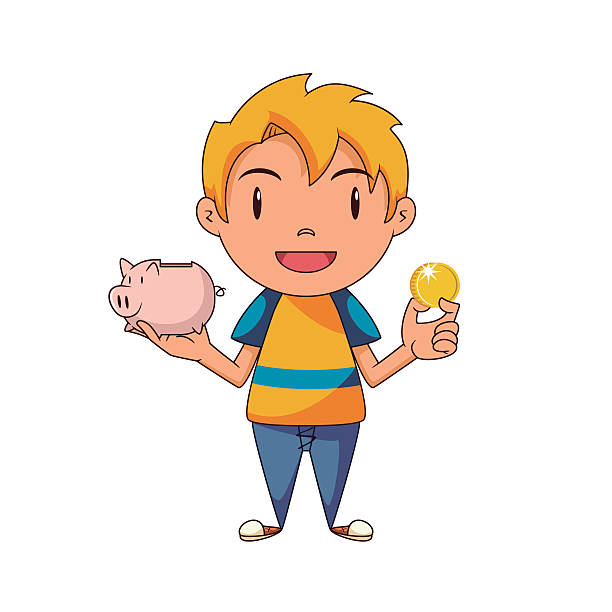 Boy clipart saving money Boy Holding Bank clipart with