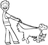 Boy clipart walking dog River training Clipart collection Leash