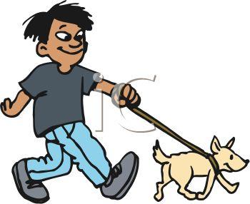 Boy clipart walking dog Walking Walking Dog Boy Dog